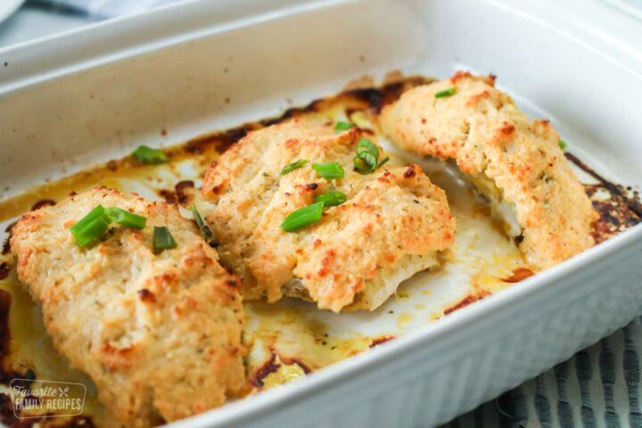 baked mahi mahi in a baking dish