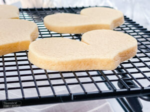 Side view of sugar cookie to show thickness and clean edges