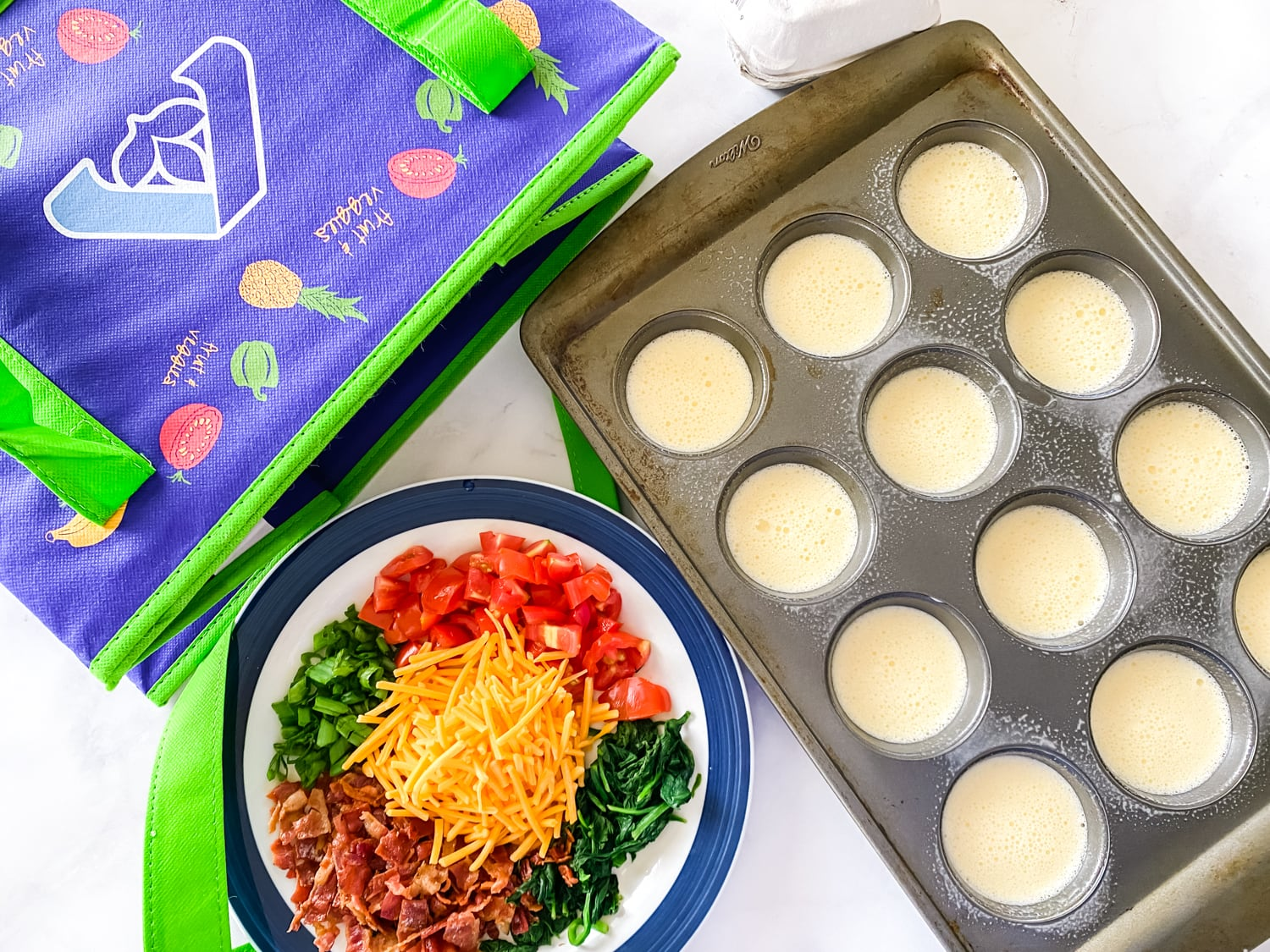 Muffin tin with eggs