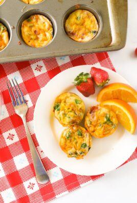 Egg muffins on a breakfast plate