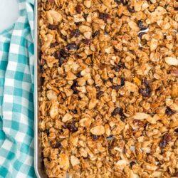 Homemade Granola on a 9x13 baking sheet