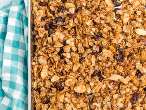 Homemade Granola on a 9x13 baking sheet