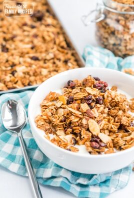 Yogurt and homemade granola in a bowl