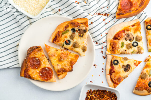 Homemade Pizza slices on a plate
