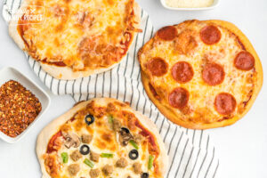 Three homemade pizzas