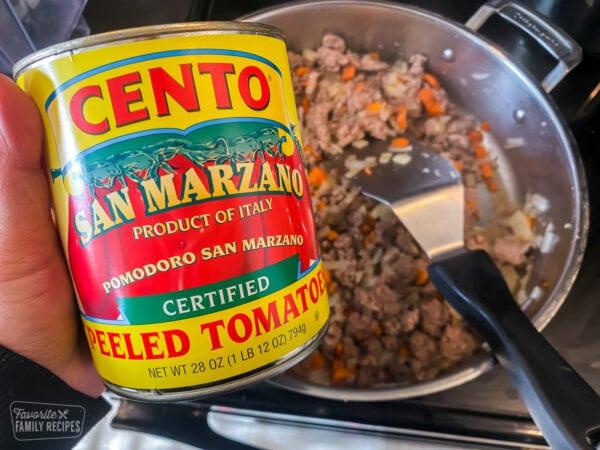 Can of San Marzano tomatoes