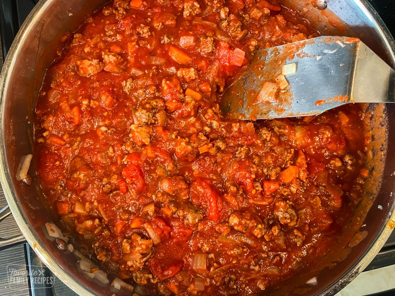 Meaty spaghetti sauce in a pan