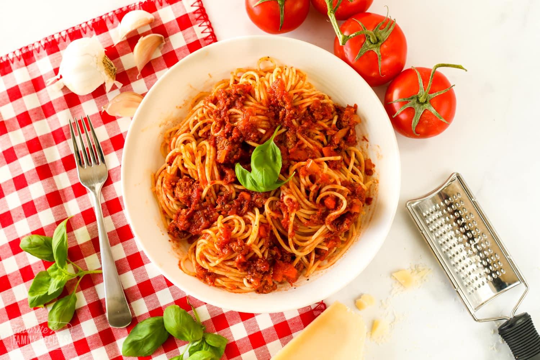 Authentic Italian Spaghetti in a bowl