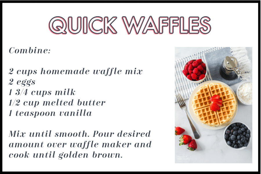 Waffle Mix Instructions with picture