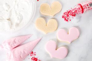 Sugar cookies with royal icing and sprinkles