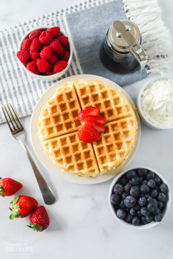 Homemade waffles on a plate with toppings