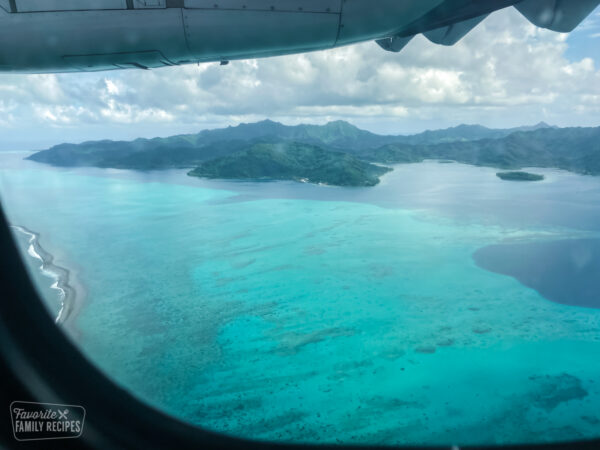 View of Tahaa, the vanilla island, from an airplane