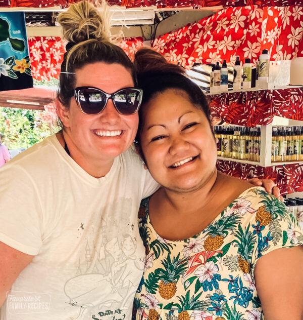 Erica and Tahitian Tour guide at the Tahitian Vanilla farm