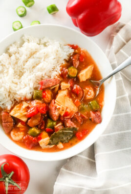 A bowl of Instant Pot gumbo with rice