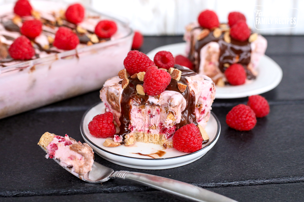 2 servings of Raspberry Almond Fudge Ice Cream Cake