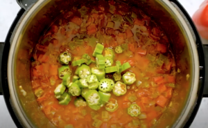 Okra added to the gumbo in an Instant Pot