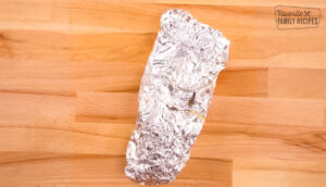 A Cajun Shrimp Foil Packet all wrapped up in tin foil