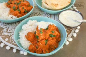 Chicken Tikka Masala in 2 bowls with rice