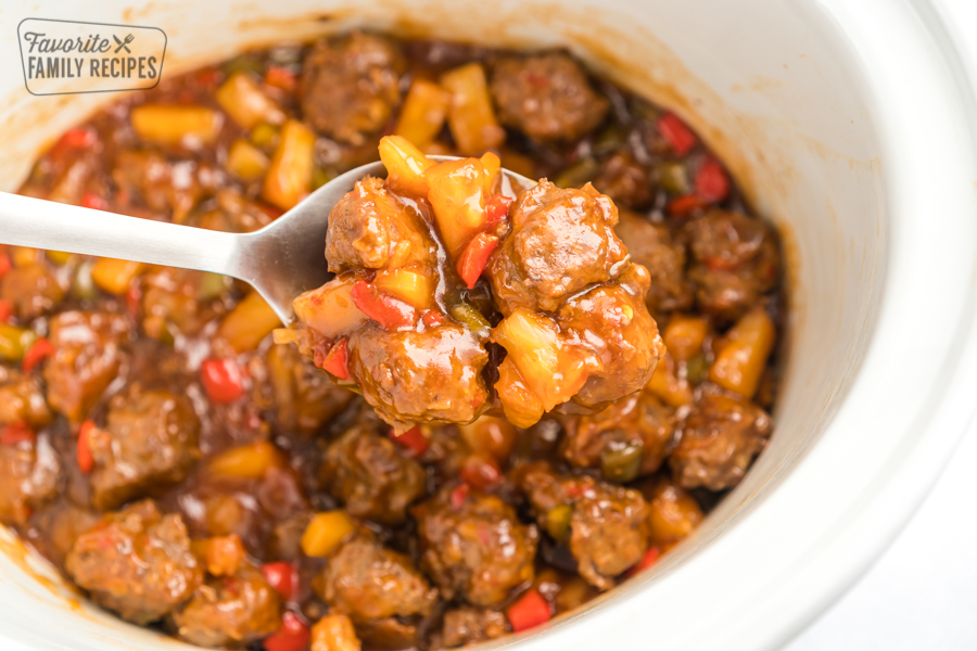 Sweet and Sour Meatballs in a crock pot