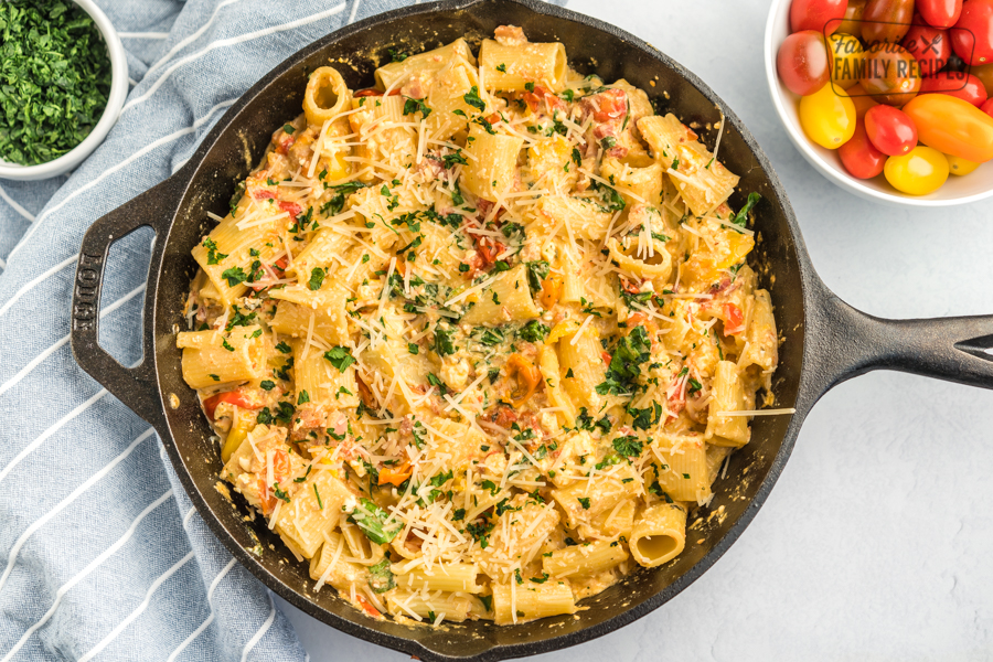 Baked Feta Pasta in a cast iron skillet
