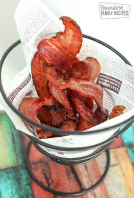 Air Fryer bacon, fully cooked, and in a decorative server