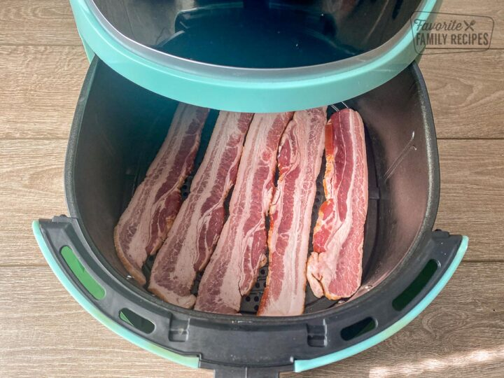 Uncooked bacon in a air fryer
