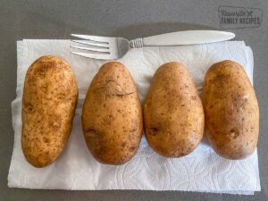 4 Russet Potatoes washed and poked with a fork