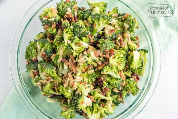 Chopped Broccoli Salad is fresh, crunchy, and full of flavor. The crisp bacon, chewy raisins, and sweet dressing make it a delicious side for any meal.
