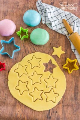 Yellow fondant rolled out with cut-out stars