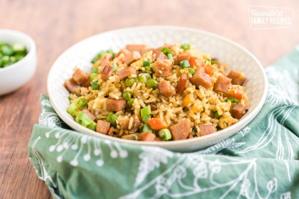 Close up of a bowl of ham fried rice