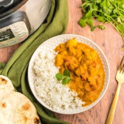 A bowl with rice and chicken tikka masala inside next to an instant pot