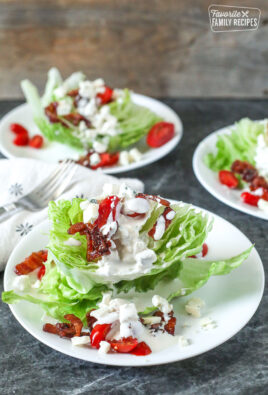 3 Wedge salads with bacon, tomatoes, and blue cheese