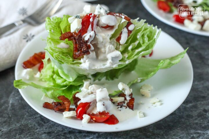 Wedge Salad with bacon, tomatoes, and blue cheese