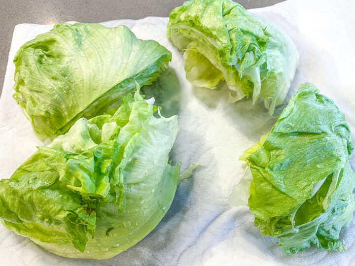 Iceberg Lettuce cut into 4 equal sections