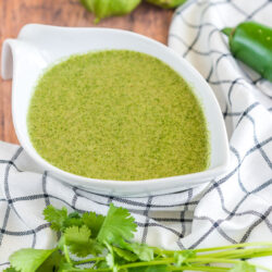 Cilantro Lime Dressing in a white serving bowl