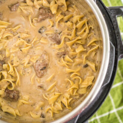 An Instant Pot filled with beef stroganoff