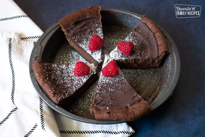 Overhead view of Easy Flourless Chocolate Cake in the pan.