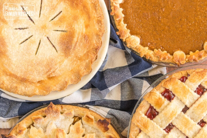 Four different pies each with a different type of crust