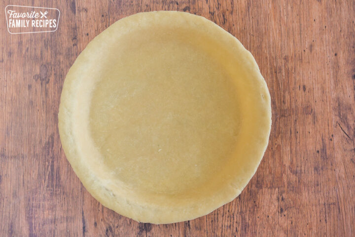 Pie crust shaped into a pie plate